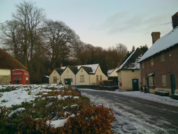 Village hall in the snow