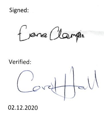 Clerk and Chair Signature